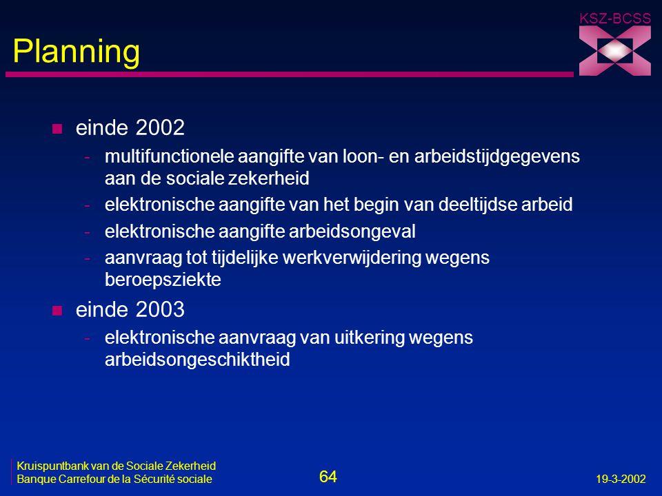Planning einde 2002. multifunctionele aangifte van loon- en arbeidstijdgegevens aan de sociale zekerheid.