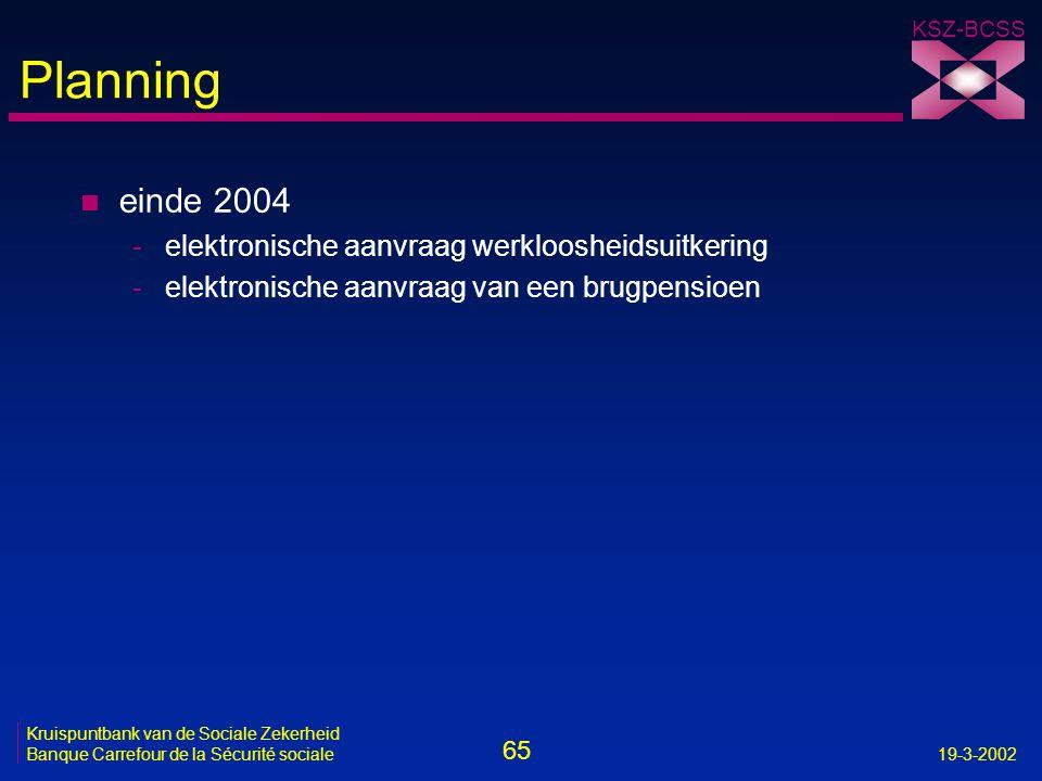 Planning einde 2004 elektronische aanvraag werkloosheidsuitkering