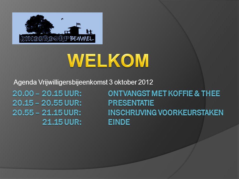 Agenda Vrijwilligersbijeenkomst 3 oktober 2012