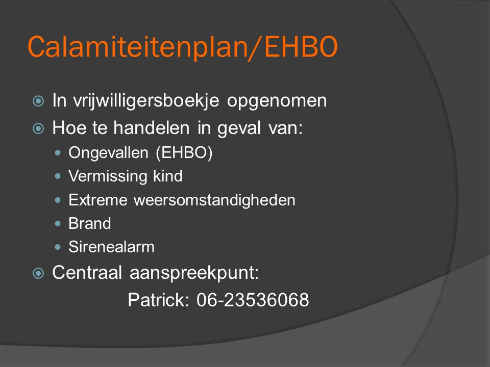 Calamiteitenplan/EHBO