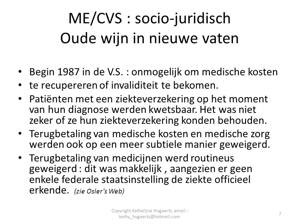 ME/CVS : socio-juridisch Oude wijn in nieuwe vaten