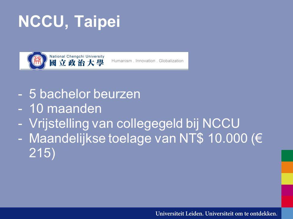 NCCU, Taipei 5 bachelor beurzen 10 maanden