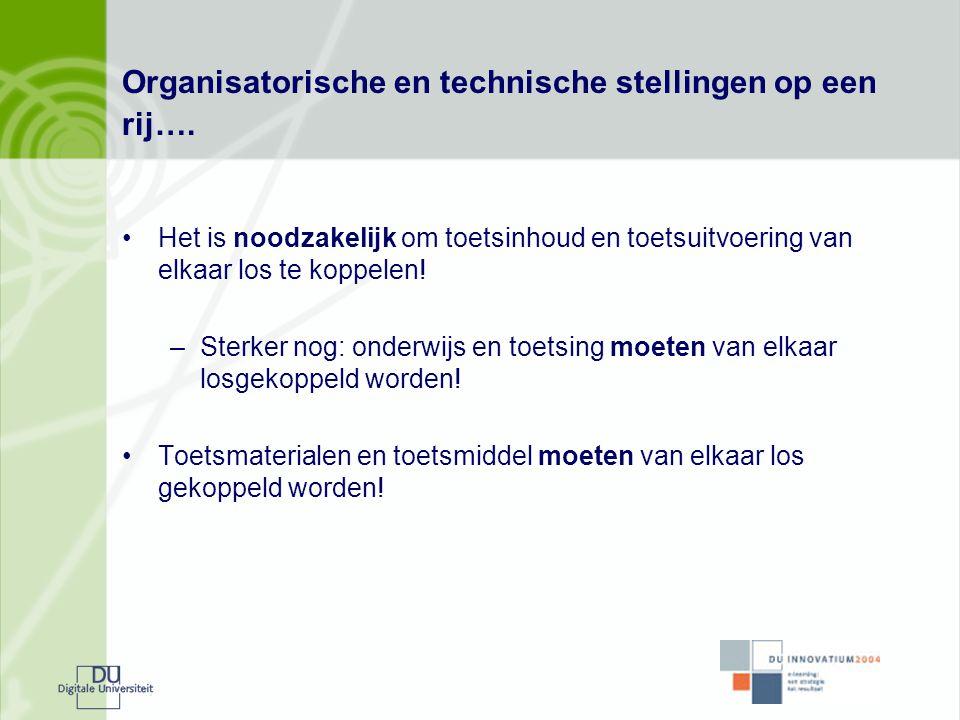 Organisatorische en technische stellingen op een rij….