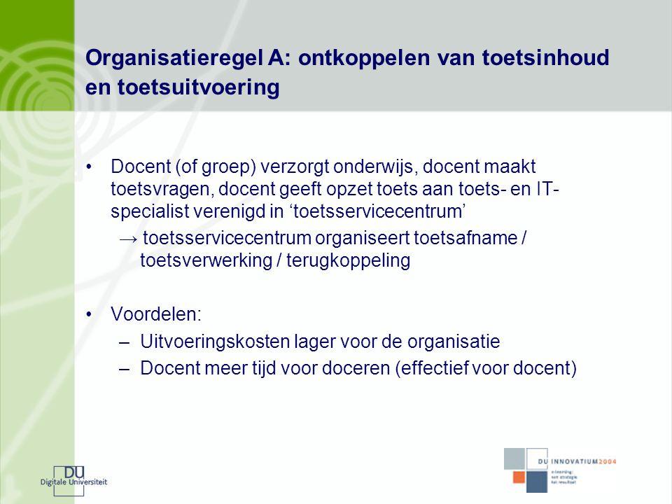 Organisatieregel A: ontkoppelen van toetsinhoud en toetsuitvoering