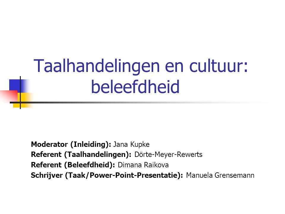 Taalhandelingen en cultuur: beleefdheid