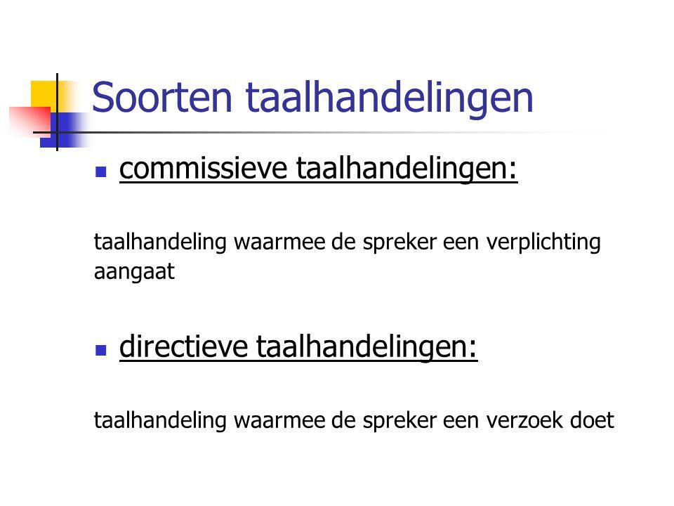 Soorten taalhandelingen