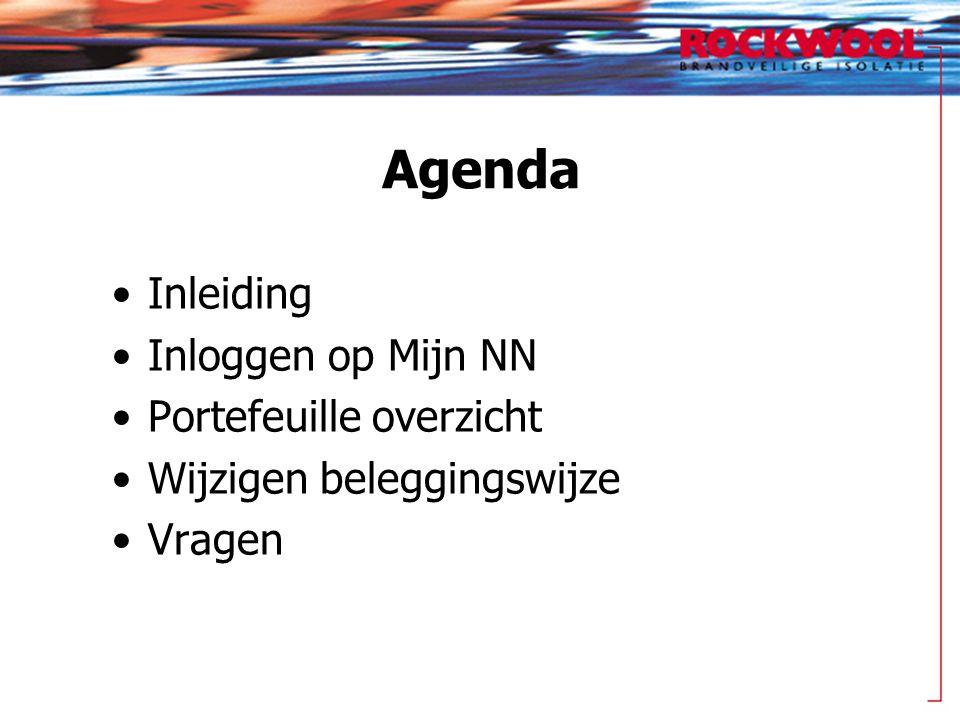Agenda Inleiding Inloggen op Mijn NN Portefeuille overzicht