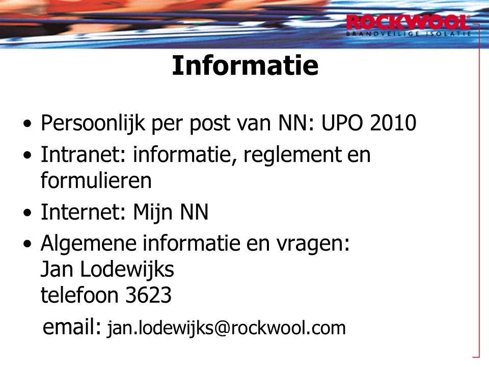 Informatie Persoonlijk per post van NN: UPO 2010