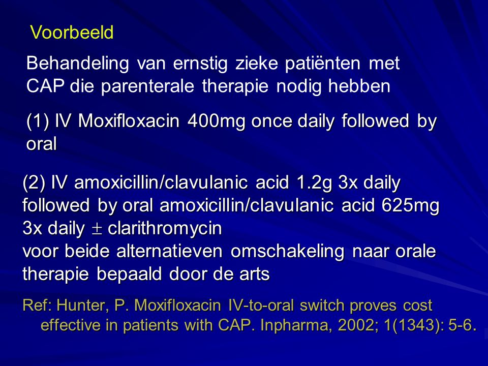 (1) IV Moxifloxacin 400mg once daily followed by oral