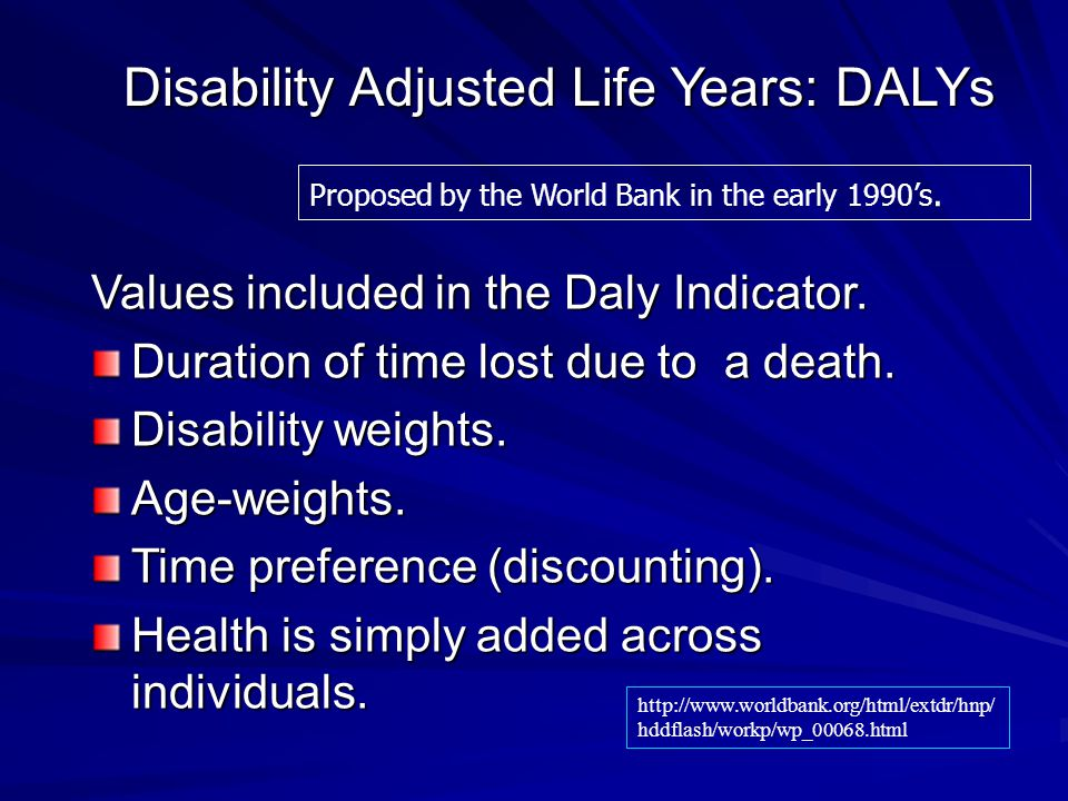 Disability Adjusted Life Years: DALYs