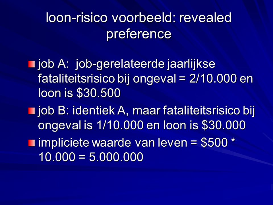 loon-risico voorbeeld: revealed preference