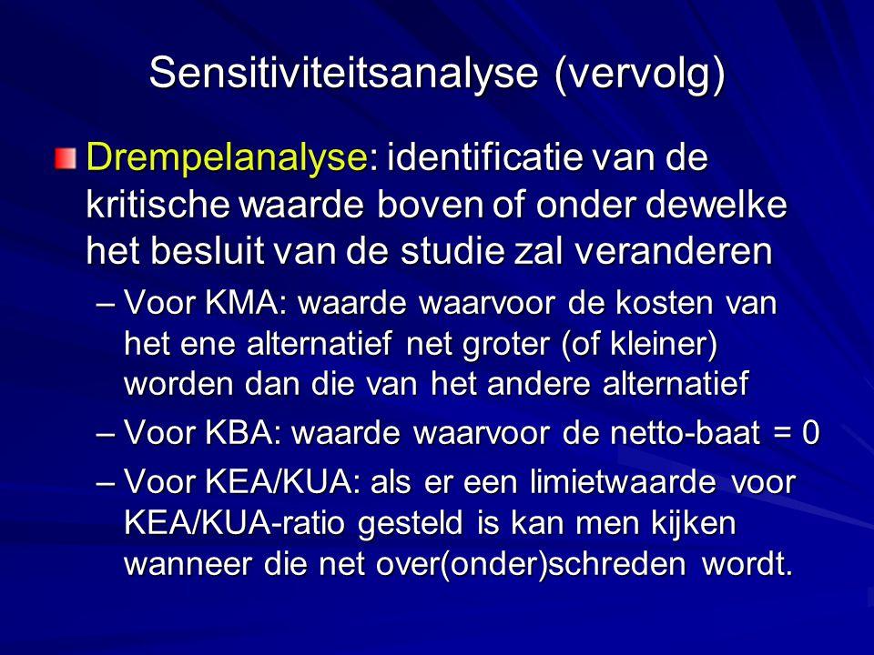 Sensitiviteitsanalyse (vervolg)