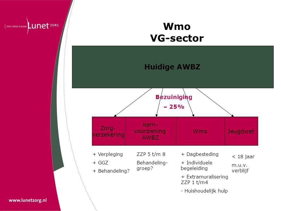 Wmo VG-sector Huidige AWBZ Bezuiniging – 25% Zorg- verzekering Kern-