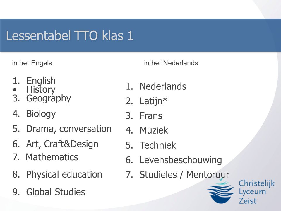 Lessentabel TTO klas 1 English History 3. Geography Nederlands