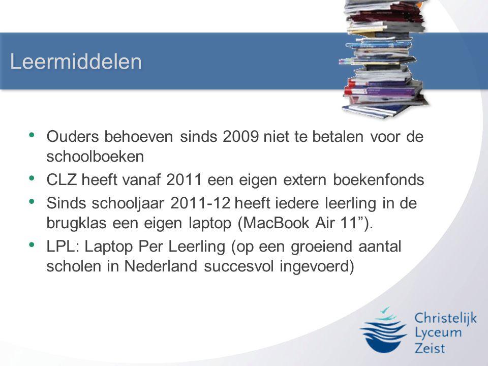 Leermiddelen Ouders behoeven sinds 2009 niet te betalen voor de schoolboeken. CLZ heeft vanaf 2011 een eigen extern boekenfonds.