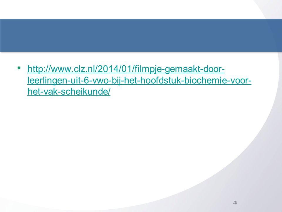 http://www.clz.nl/2014/01/filmpje-gemaakt-door- leerlingen-uit-6-vwo-bij-het-hoofdstuk-biochemie-voor- het-vak-scheikunde/