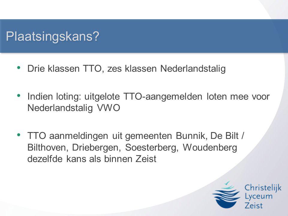 Plaatsingskans Drie klassen TTO, zes klassen Nederlandstalig
