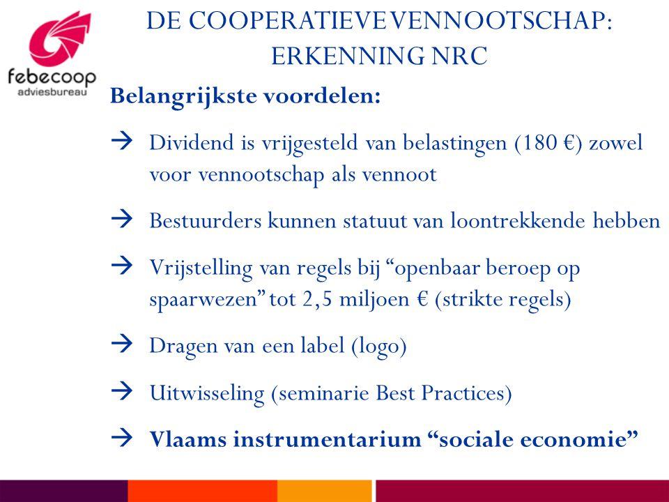 DE COOPERATIEVE VENNOOTSCHAP: ERKENNING NRC