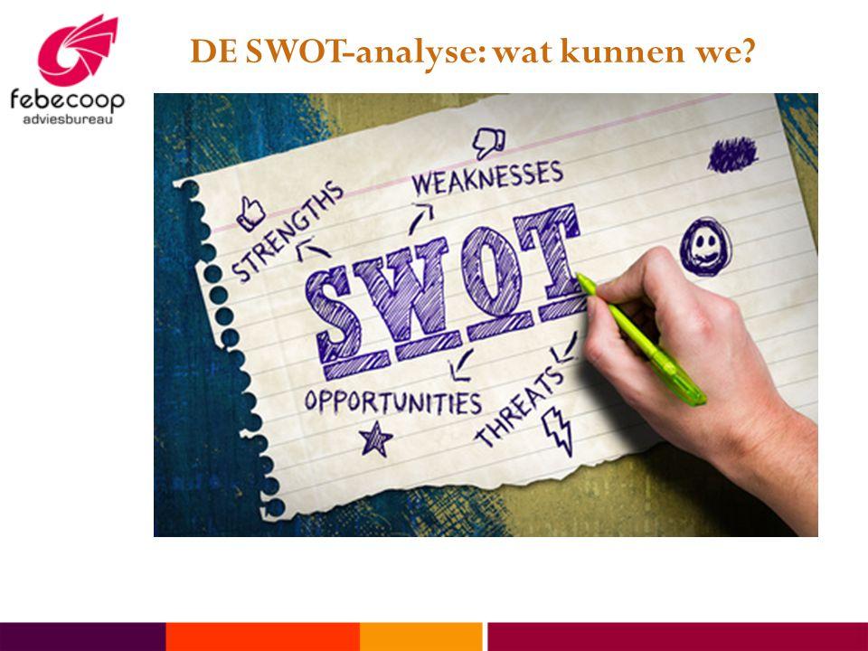 DE SWOT-analyse: wat kunnen we