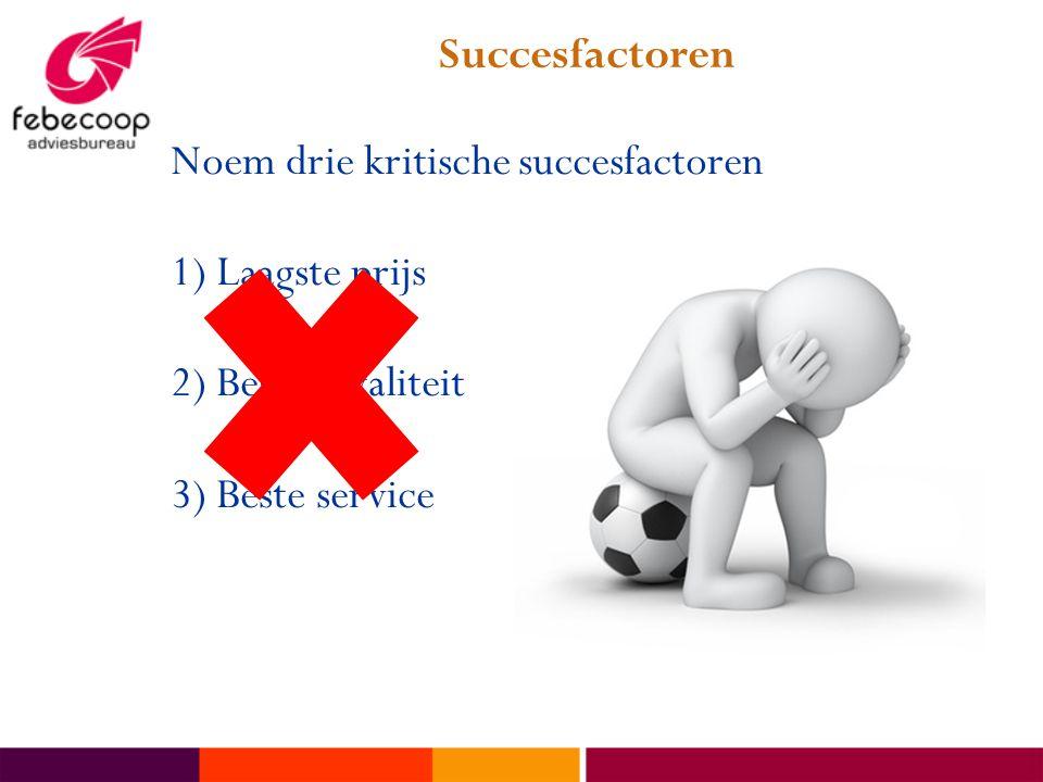 Succesfactoren Noem drie kritische succesfactoren.