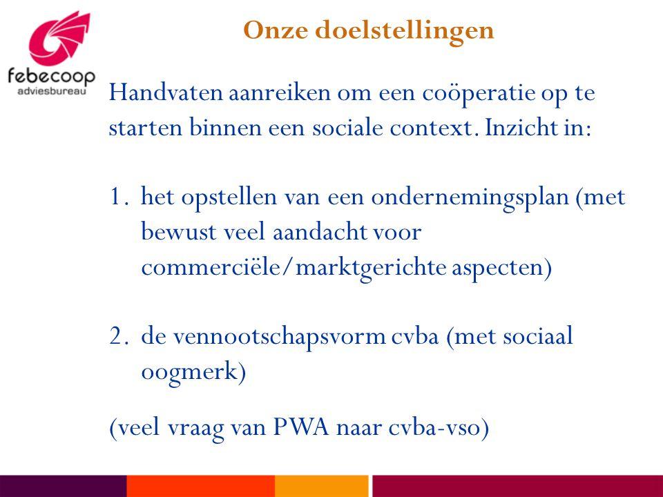 Onze doelstellingen Handvaten aanreiken om een coöperatie op te starten binnen een sociale context. Inzicht in: