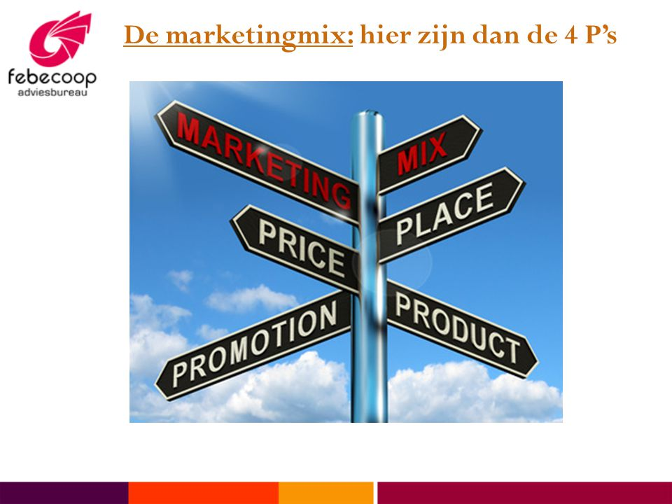 De marketingmix: hier zijn dan de 4 P's