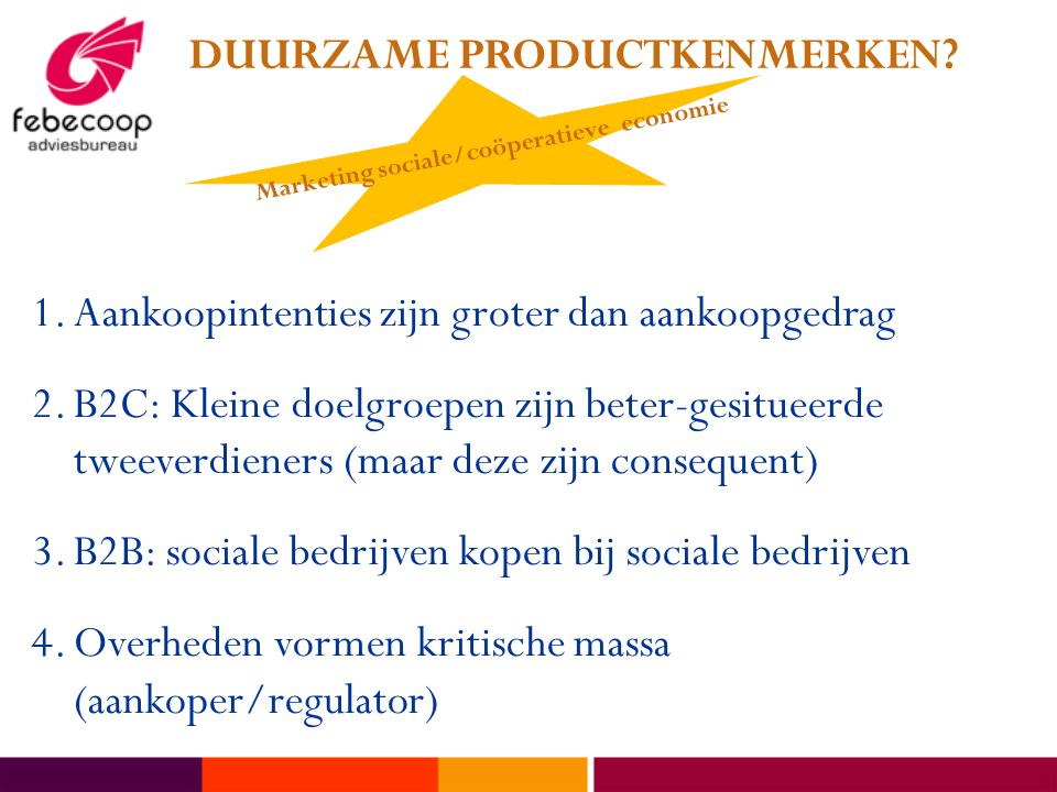 DUURZAME PRODUCTKENMERKEN Marketing sociale/coöperatieve economie