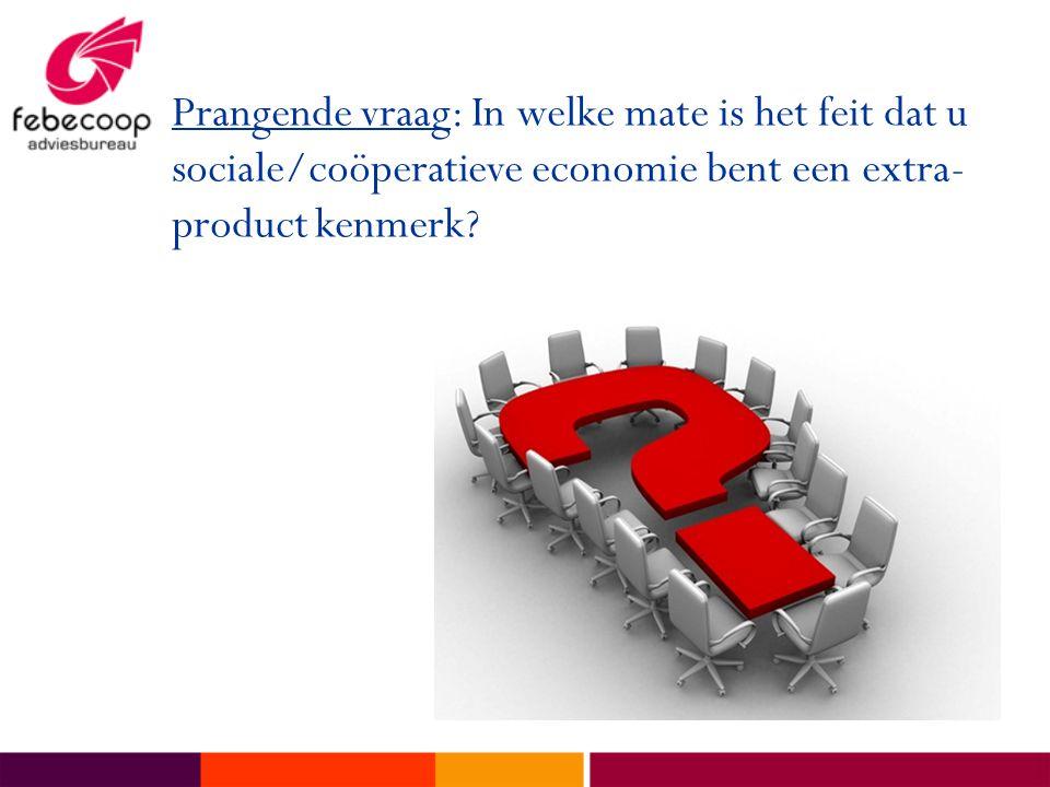 Prangende vraag: In welke mate is het feit dat u sociale/coöperatieve economie bent een extra-product kenmerk