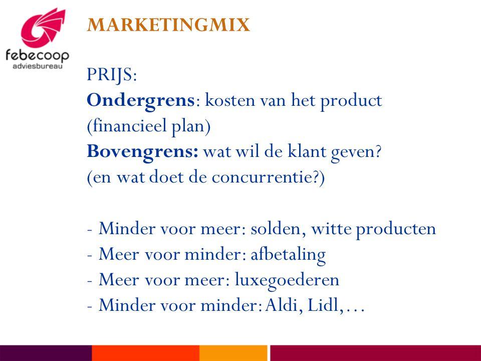 MARKETINGMIX PRIJS: Ondergrens: kosten van het product (financieel plan) Bovengrens: wat wil de klant geven