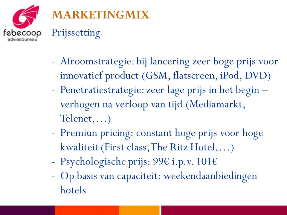 MARKETINGMIX Prijssetting