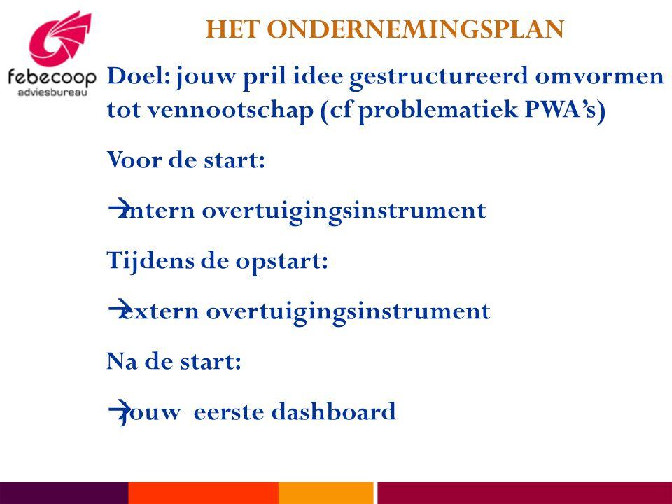HET ONDERNEMINGSPLAN Doel: jouw pril idee gestructureerd omvormen tot vennootschap (cf problematiek PWA's)