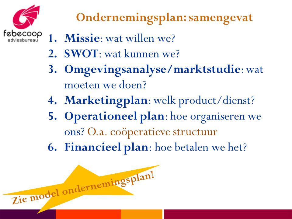 Ondernemingsplan: samengevat Zie model ondernemingsplan!