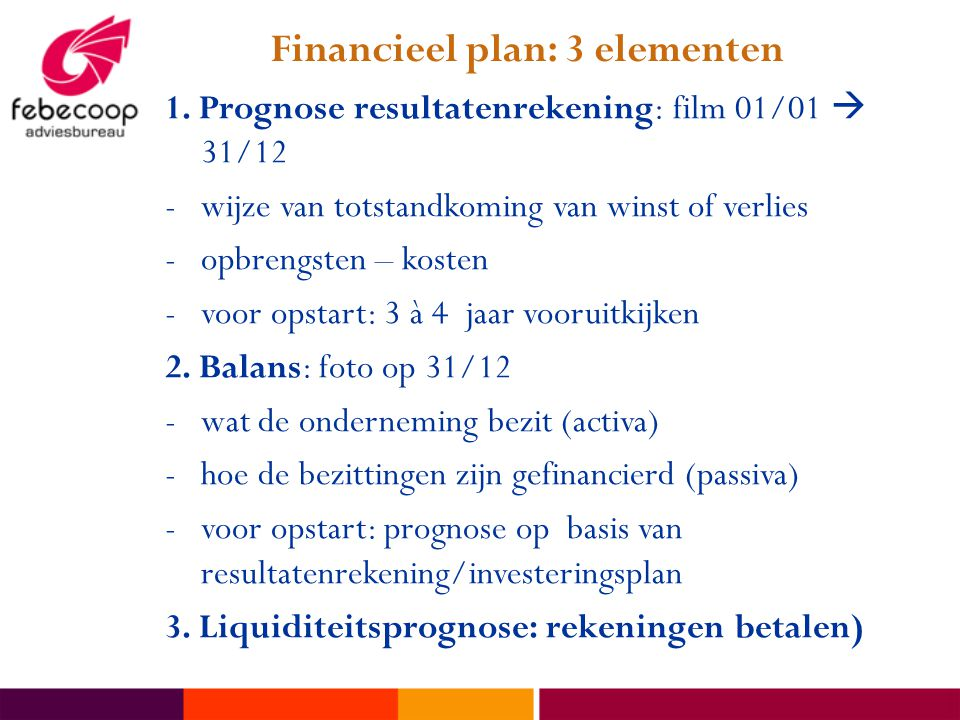 Financieel plan: 3 elementen