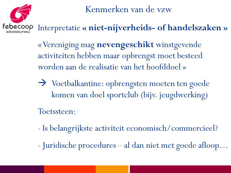 Kenmerken van de vzw Interpretatie « niet-nijverheids- of handelszaken »