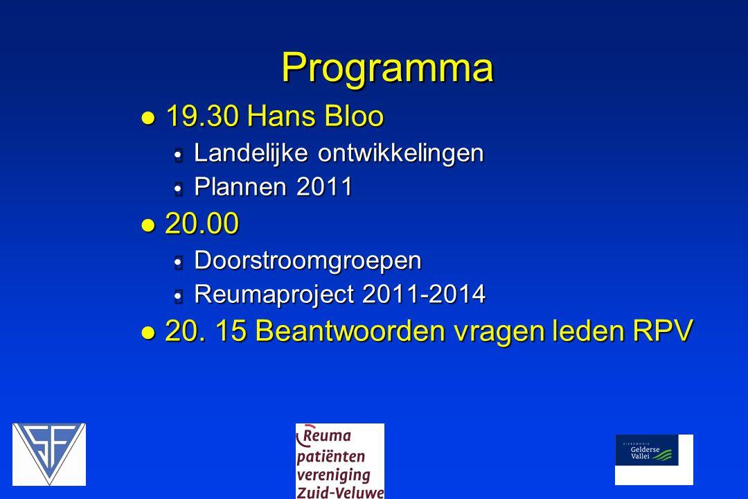 Programma 19.30 Hans Bloo 20.00 20. 15 Beantwoorden vragen leden RPV