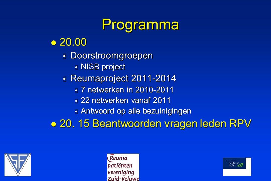 Programma 20.00 20. 15 Beantwoorden vragen leden RPV Doorstroomgroepen