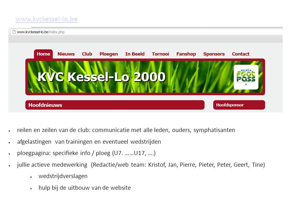 www.kvckessel-lo.be reilen en zeilen van de club: communicatie met alle leden, ouders, symphatisanten.
