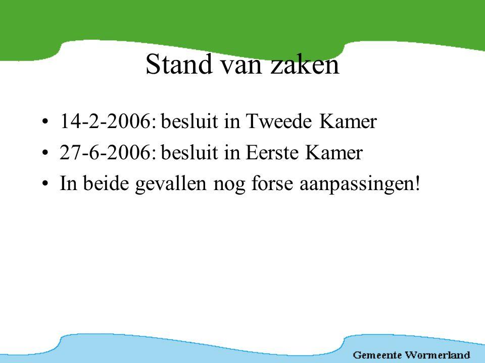 Stand van zaken 14-2-2006: besluit in Tweede Kamer