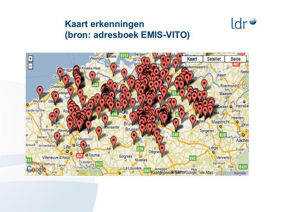 Kaart erkenningen (bron: adresboek EMIS-VITO)