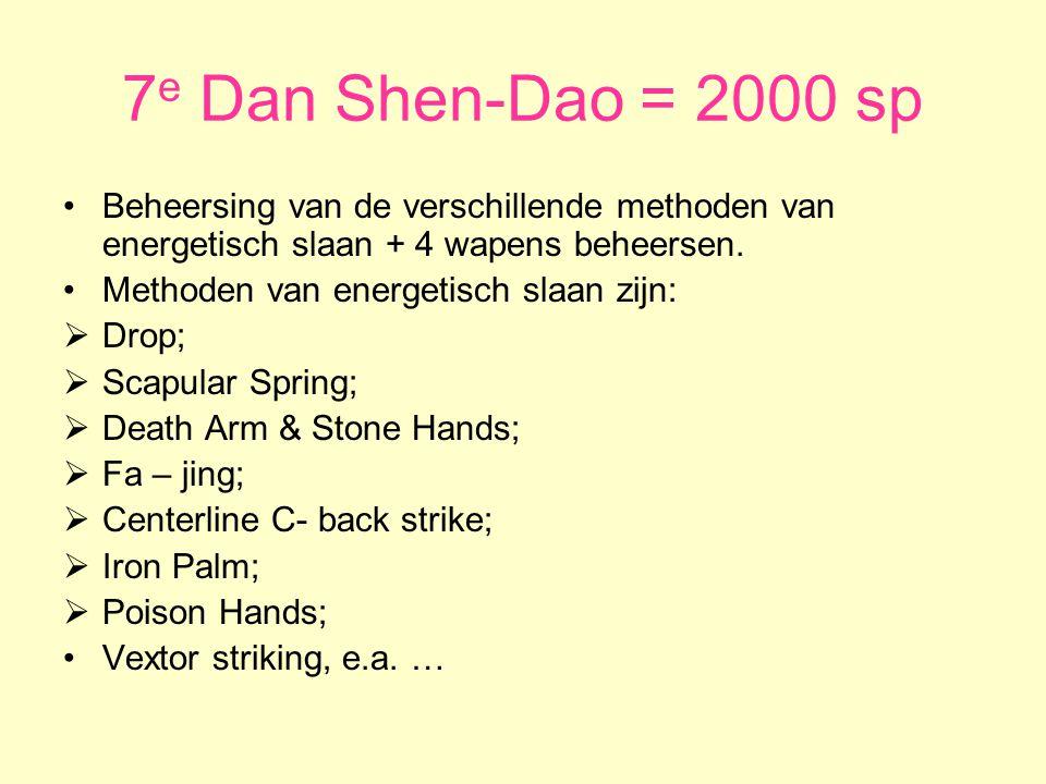 7e Dan Shen-Dao = 2000 sp Beheersing van de verschillende methoden van energetisch slaan + 4 wapens beheersen.