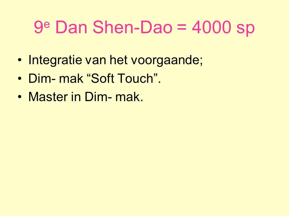 9e Dan Shen-Dao = 4000 sp Integratie van het voorgaande;