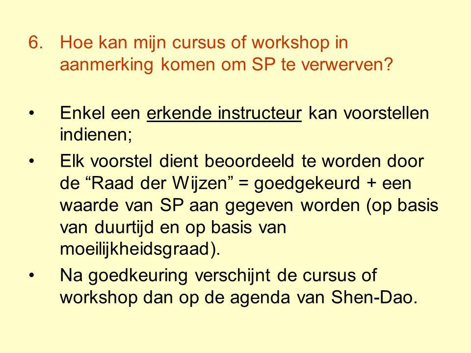 Hoe kan mijn cursus of workshop in aanmerking komen om SP te verwerven