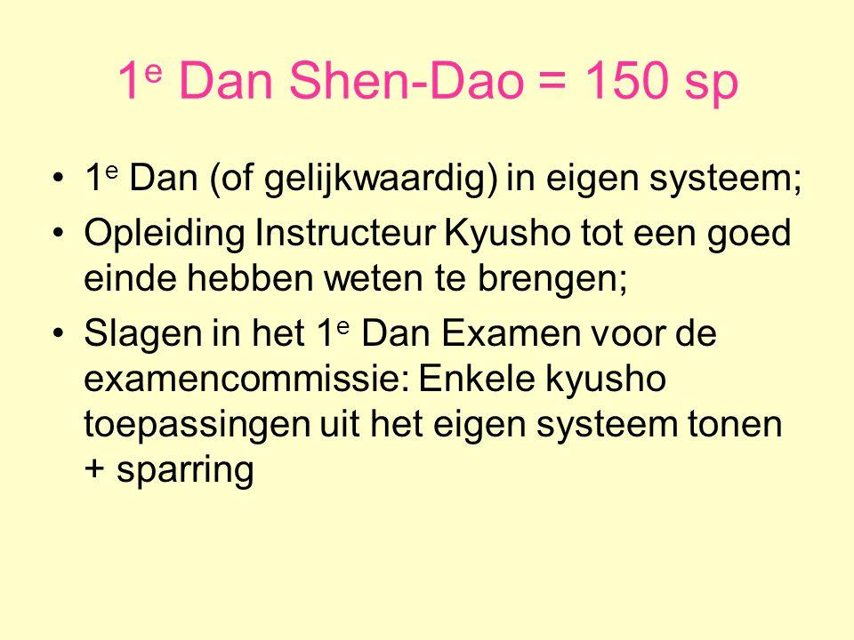 1e Dan Shen-Dao = 150 sp 1e Dan (of gelijkwaardig) in eigen systeem;