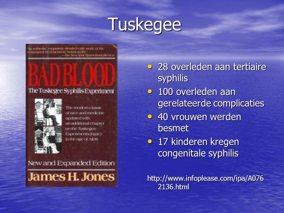Tuskegee 28 overleden aan tertiaire syphilis