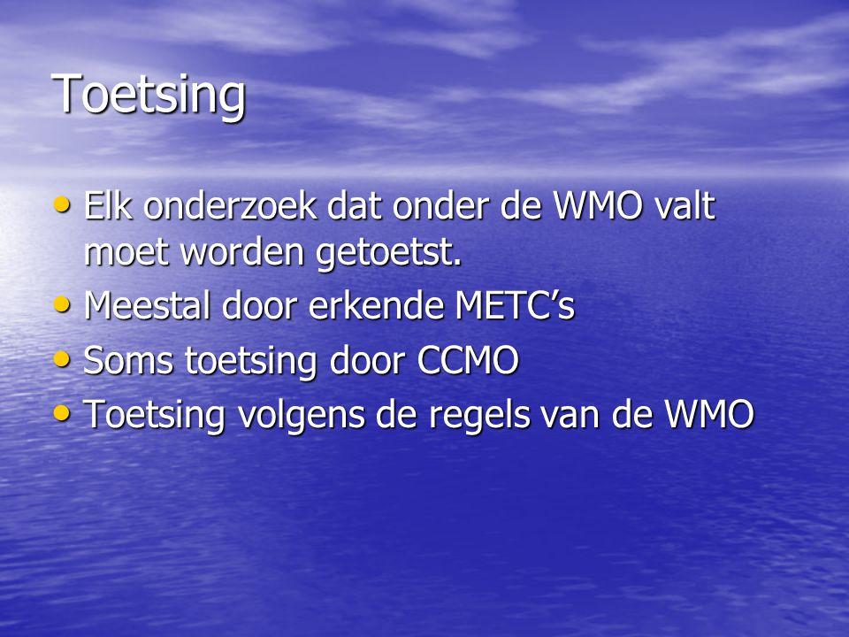 Toetsing Elk onderzoek dat onder de WMO valt moet worden getoetst.
