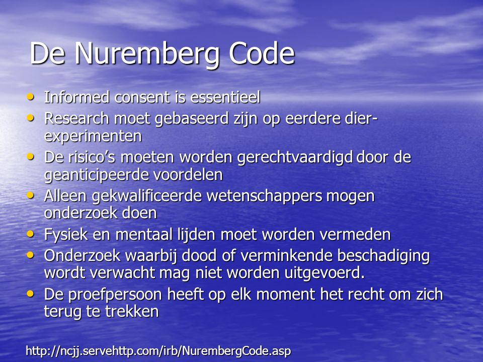 De Nuremberg Code Informed consent is essentieel