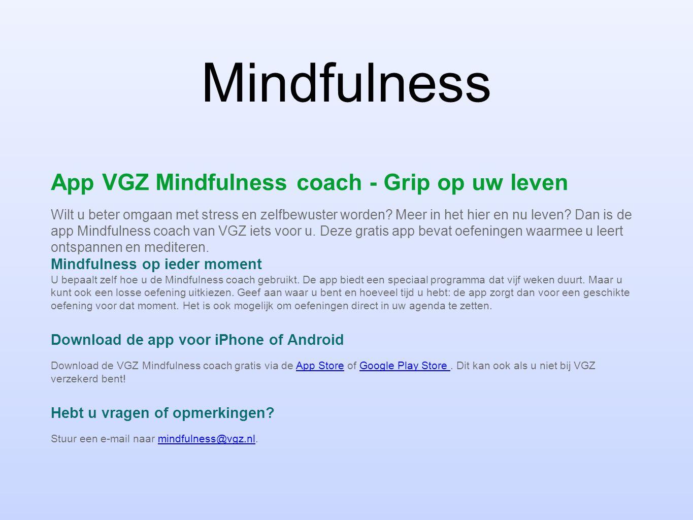 Mindfulness App VGZ Mindfulness coach - Grip op uw leven