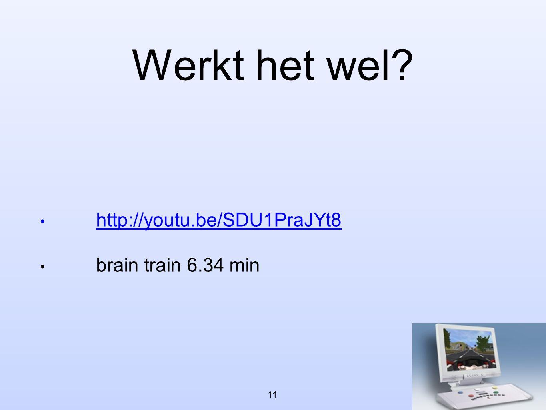 Werkt het wel http://youtu.be/SDU1PraJYt8 brain train 6.34 min 11