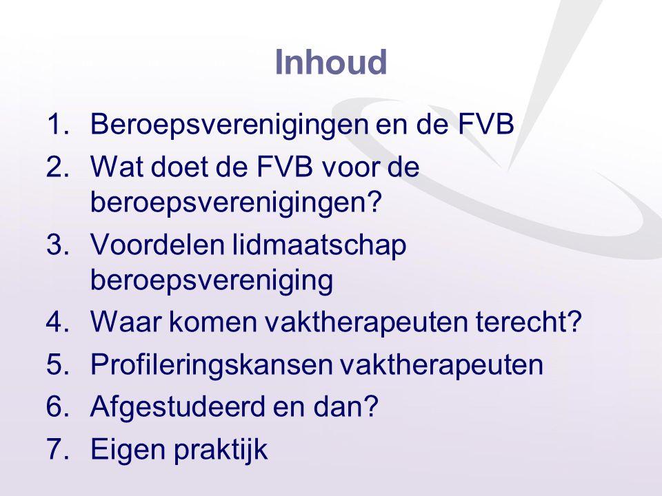 Inhoud Beroepsverenigingen en de FVB