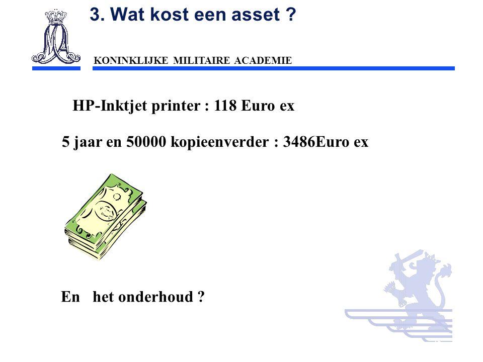 3. Wat kost een asset HP-Inktjet printer : 118 Euro ex